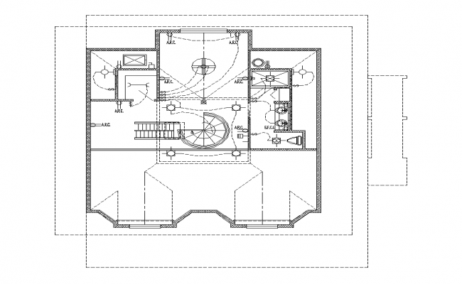 Electrical installation of a building detail 2d view layout autocad file