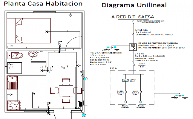 Electrical installation of one family house room dwg file