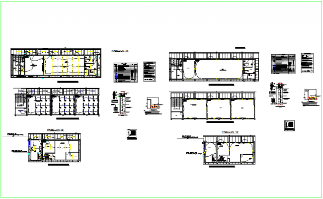 Electrical installation plan for part A and B of school with electrical legend dwg file