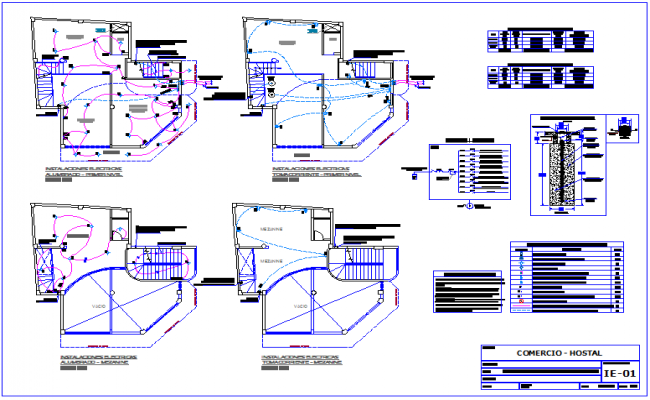 Electrical installation plan of hostel dwg file