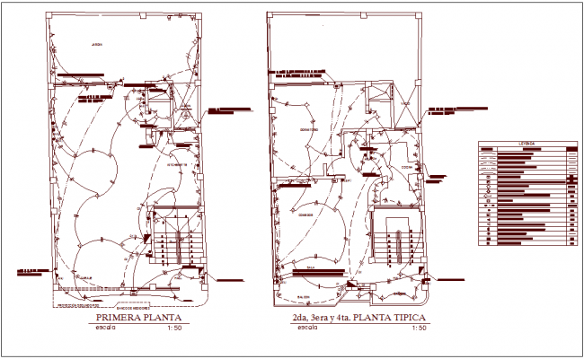 Electrical installation plan of family house dwg file