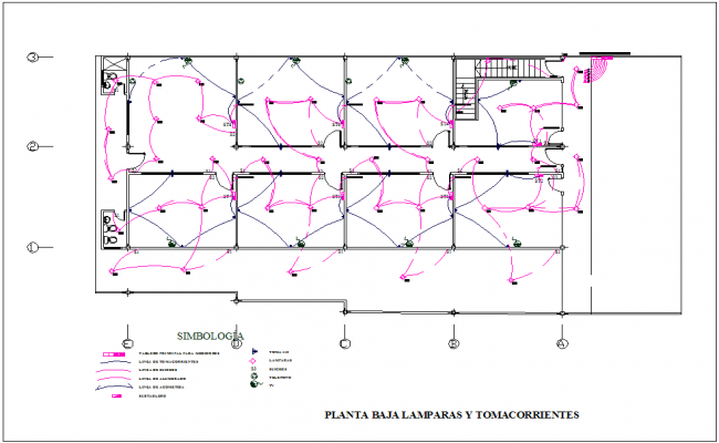 Electrical installation plan of housing dwg file