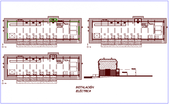 Electrical installation plan of lift project for first and second floor plan dwg file