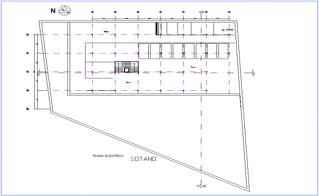 Electrical installation plan of office basement dwg file