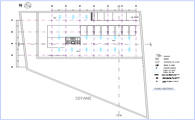 Electrical installation plan of office for basement dwg file