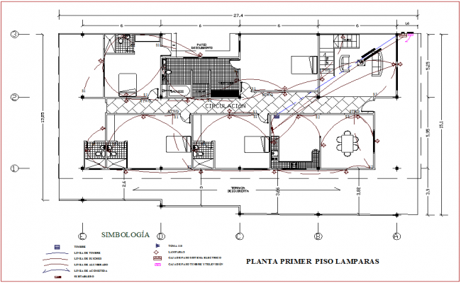 Electrical installation plan of residential area dwg file