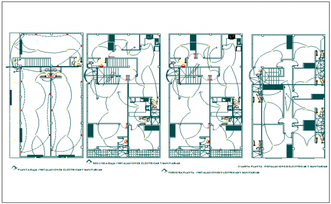 Electrical installation plan of residential building dwg file
