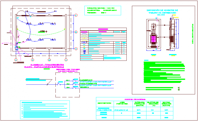 Electrical installation school plan, class room, electric legend dwg file