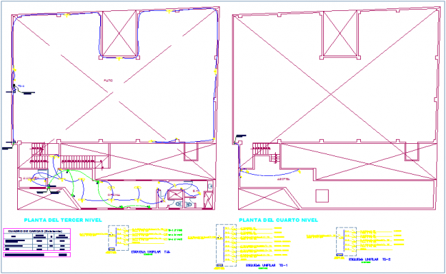 Electrical installation plan of textile manufacturing plant for third and fourth floor plan dwg file