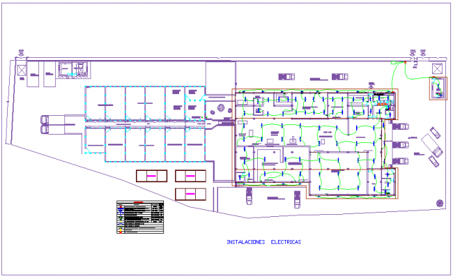 Electrical installation plan with its legend for plant of leather dwg file