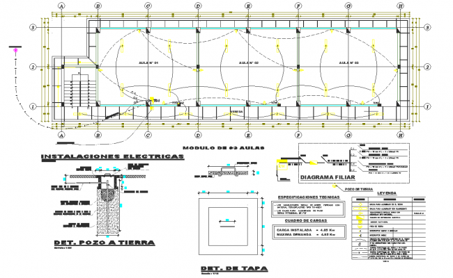 installation plan with its legend of class room dwg file