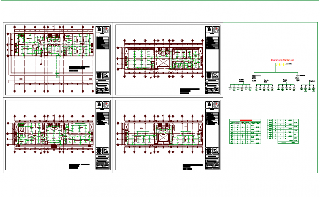 Electrical installation plan with legend of government building dwg file