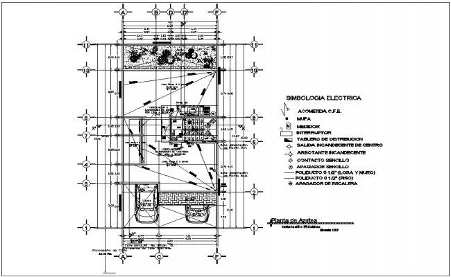Electrical installation view in roof top plan of house with electrical legend dwg file
