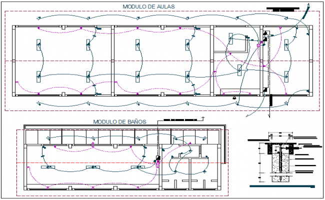 Electrical installation view of school classroom with detail view dwg file