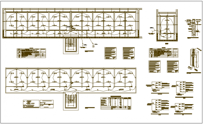 Electrical installation view with its legend for collage plan view dwg file