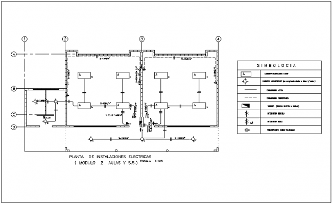 Electrical installation view with its legend for community home dwg file