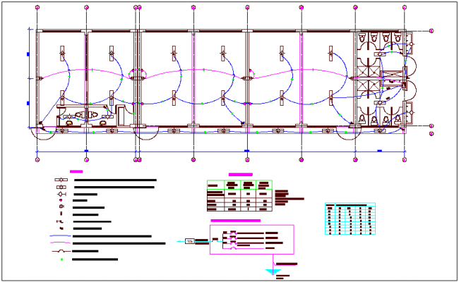 Electrical installation view with its legend of classroom dwg file