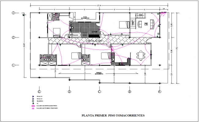 Electrical installation view with its legend of first floor plan for housing dwg file