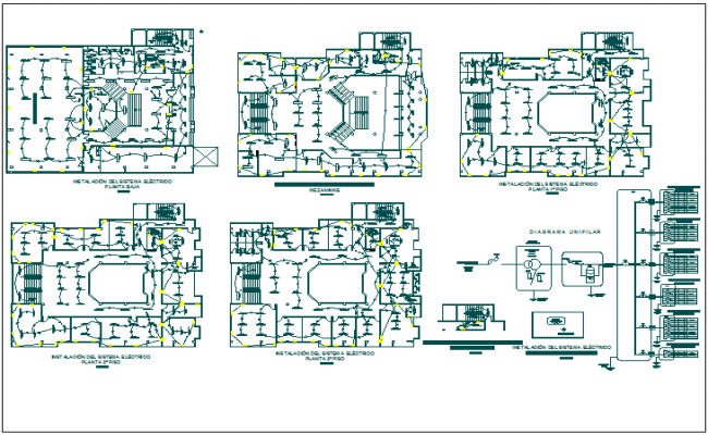 Electrical installation view with its legend of municipal building dwg file