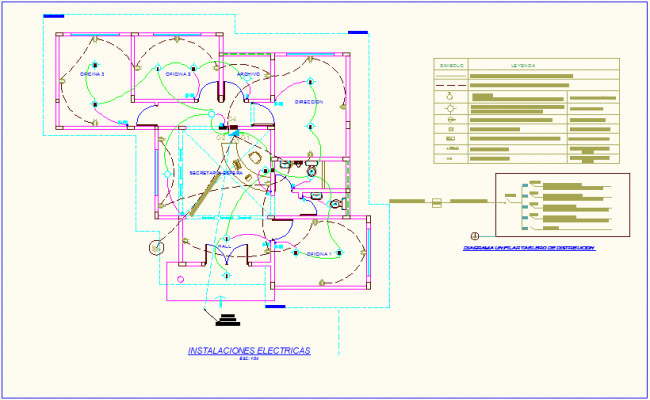 Electrical installation view with its legend of office dwg file