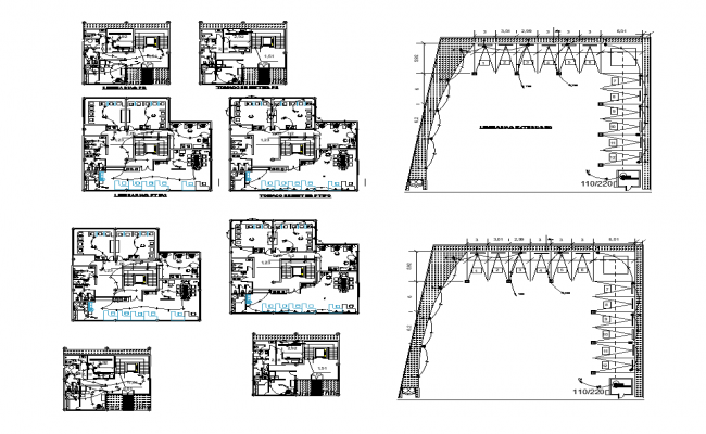 Electrical installations in the office 2d view layout file
