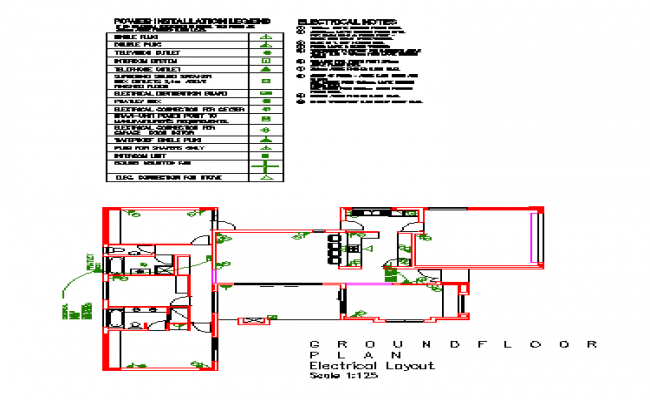 Electrical layout design drawing of ground floor house design drawing