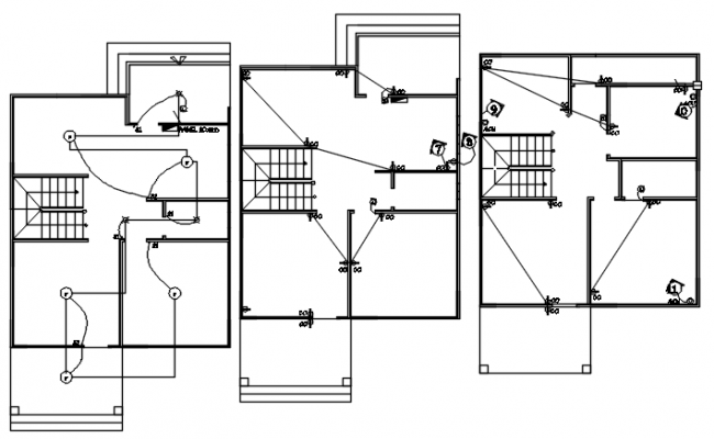 Electrical layout of the house in autocad