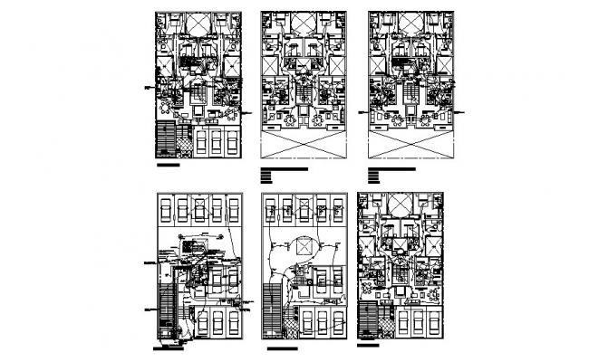 Electrical layout plan and floor plan details of apartment building dwg file