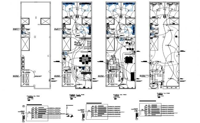 Electrical layout plan details of all floors of four flooring house building dwg file