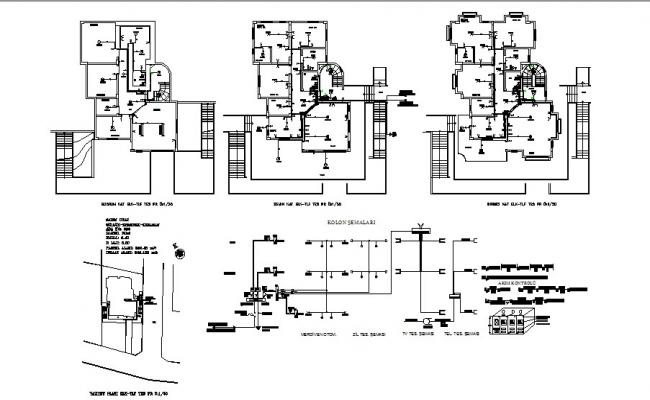 electrical layout plan details of all floors of villa cad drawing rh cadbull com