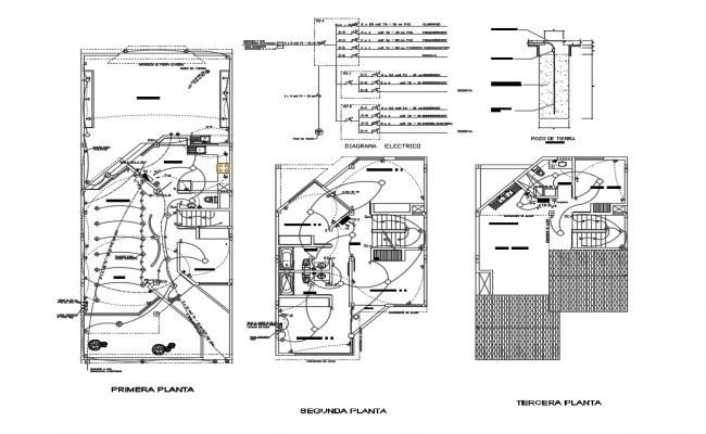 Electrical layout plan details of housing floors dwg file
