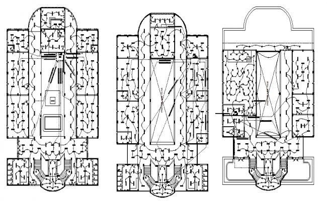 Electrical layout plan of a university dwg file