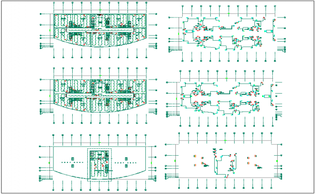 Electrical lighting and power line view in plan of commercial building dwg file