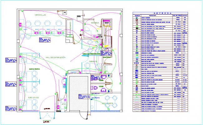 Electrical outlet and force view for IIEE office area with dwg file