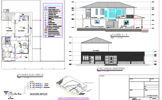 Electrical plan, elevation and section detail dwg file