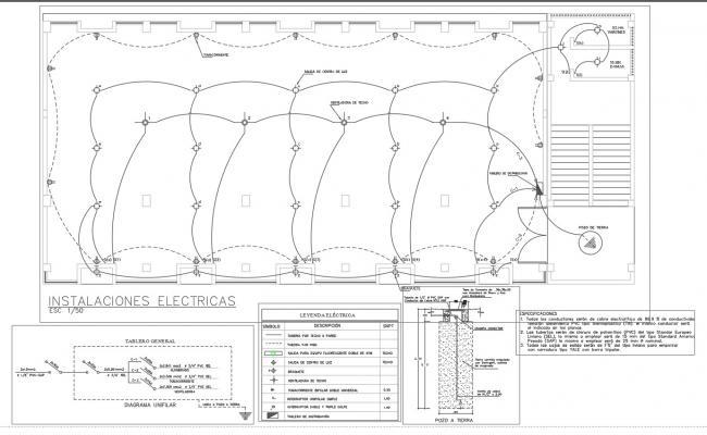 Electrical plan and column plan detail dwg file