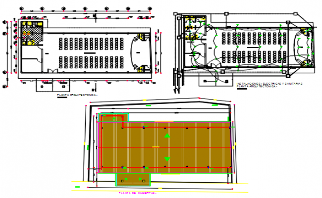 Electrical plan and commercial roof working plan detail dwg file