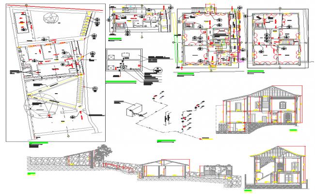 Electrical plan layout detail view dwg file