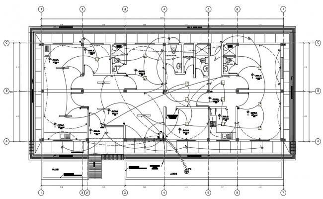 Electrical plan of a hospital in autocad