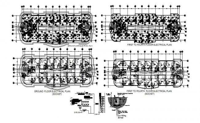 Electrical plan of the complex with detail dimensions in dwg file