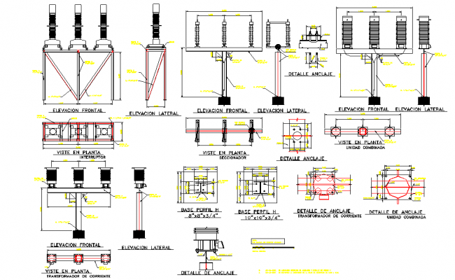 electrical substation elevation and section layout file
