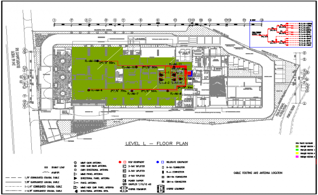 Electrical view for level L floor plan dwg file