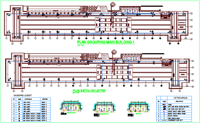 Electrical view of with electrical legend building dwg file