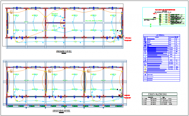 Electrical view with its legend for educational center dwg file