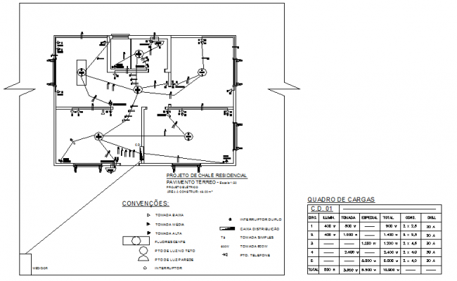 Electrical wooden house in brazil detail dwg file