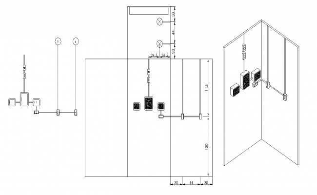Electric board connection on wall, Download the DWG file.