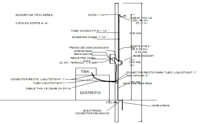 Electrode mechanical connector installation details dwg file