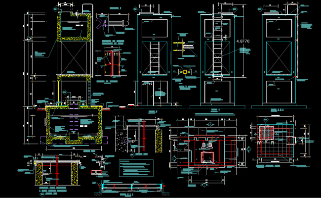 Elevated tank plan and section detail dwg file