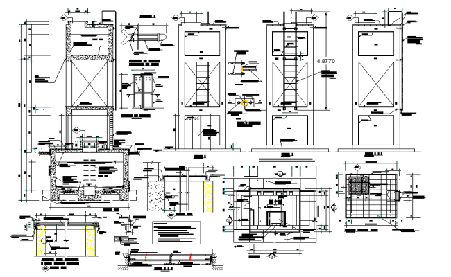 Elevated tank plan and section layout file