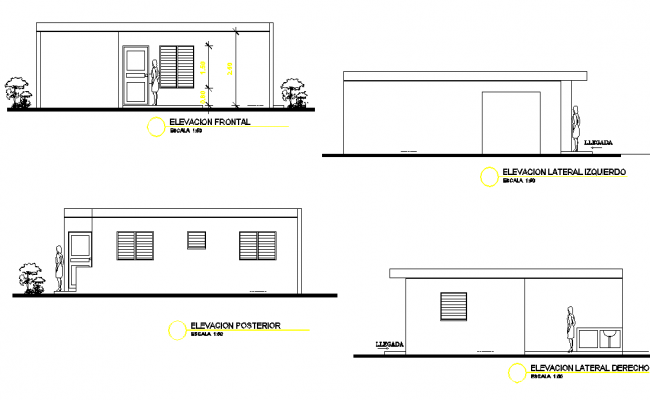 Elevation Afford able housing plan autocad file